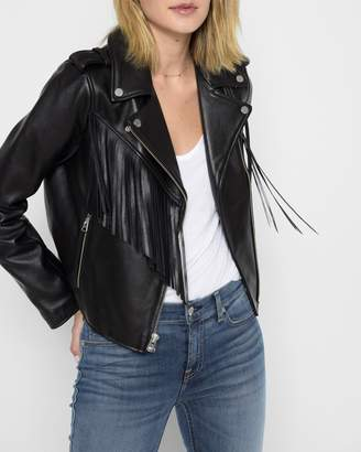 7 For All Mankind Leather Moto Jacket with Fringe in Black