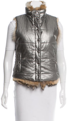 ADAM By Adam Lippes Adam Lippes Metallic Fur-Lined Vest