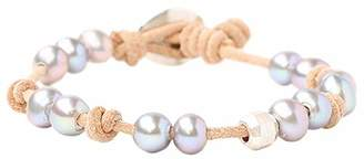 Chan Luu Freshwater Cultured Pearl Single Wrap Bracelet on Natural Beige Leather