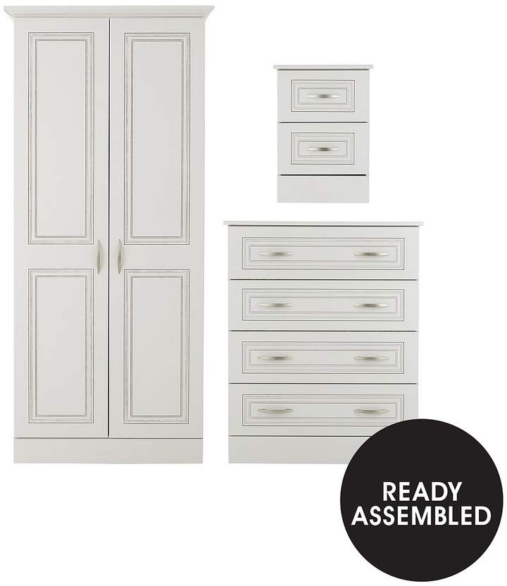 Dorchester 3-Piece Package - Ready Assembled 2 Door Wardrobe, 4 Drawer Chest And 2 Drawer Bedside Chest