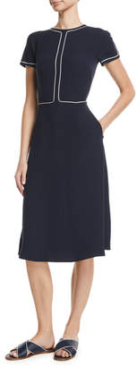 Loro Piana Short-Sleeve Fit-and-Flare Silk Midi Dress w/ Topstitching
