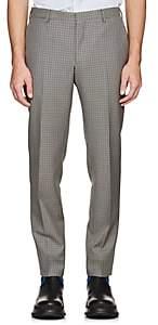 Prada Men's Micro-Houndstooth Wool-Blend Trousers-Gray