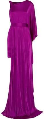 Versace One-Shoulder Asymmetric Satin Gown
