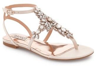 Women's Badgley Mischka 'Cara' Crystal Embellished Flat Sandal $175 thestylecure.com