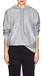 Robert Rodriguez Women's Sequined Cotton Hoodie-Silver