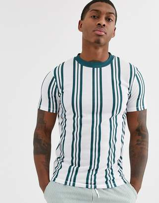 Asos Design DESIGN vertical stripe t-shirt in teal