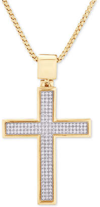 """Macy's Diamond Cross 22"""" Pendant Necklace (1/2 ct. t.w.) in 14k Gold-Plated Sterling Silver"""