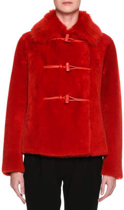 Giorgio Armani Lamb Shearling Fur Toggle Coat
