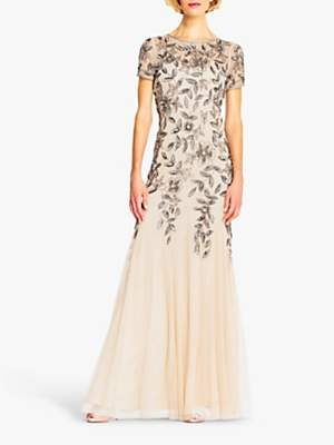 Adrianna Papell Floral Beaded Dress, Taupe/Pink