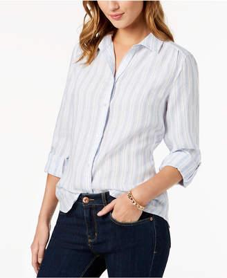 Charter Club Linen Tab-Sleeve Shirt, Created for Macy's