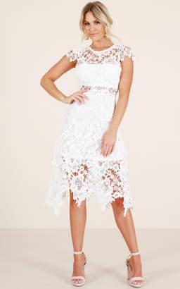 Showpo Not A Bad Thing dress in white crochet