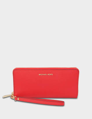 MICHAEL Michael Kors Jet Set Travel Continental Wallet in Bright Red Saffiano Leather