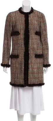 Chanel Mink Fur-Trimmed Tweed Coat