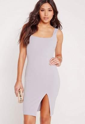 Missguided Gray Square Neck Side Split Mini Dress