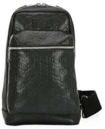 Gucci Men's Signature Leather Backpack - Nero