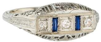 Ring 18K Diamond & Sapphire Filigree Art Deco Band