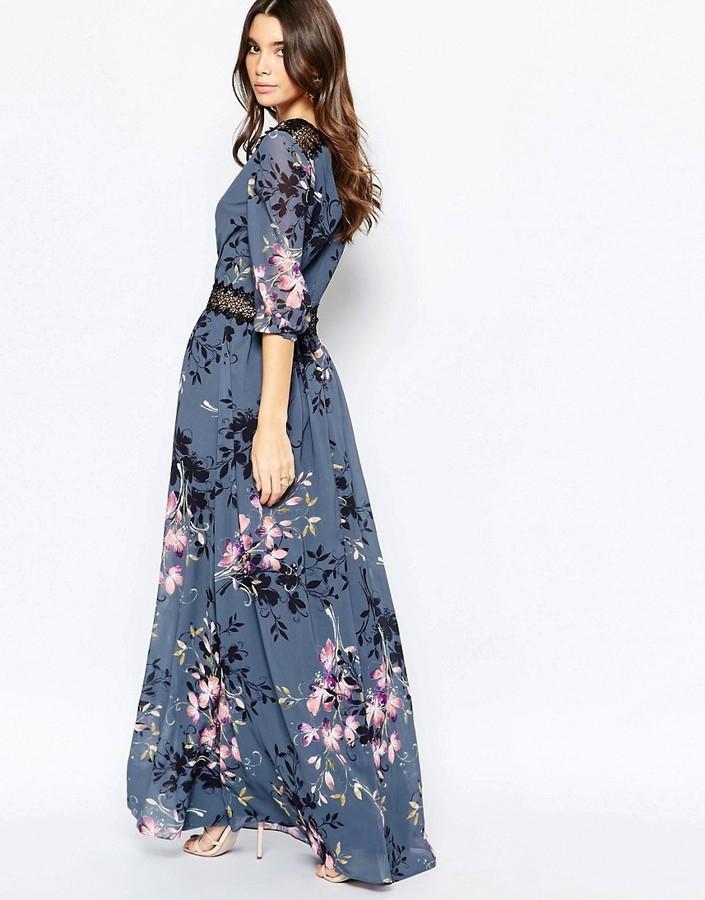 Little Mistress Floral Print And Lace Maxi Dress ...