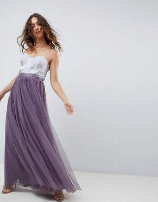 Needle & Thread tulle maxi skirt in purple
