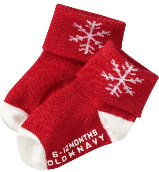 Cuffed Holiday Socks for Baby