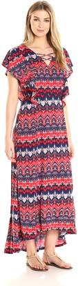 Notations Women's Cap Flutter Sleeve Printed Maxi Dress with Hi Low Hem