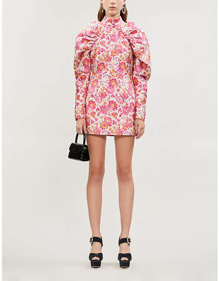 Rotate by Birger Christensen Floral-print fitted jacquard mini dress