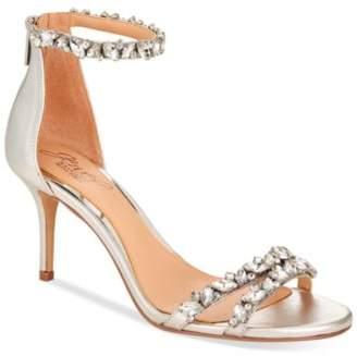 Badgley Mischka Caroline Embellished Ankle-Strap Evening Sandals