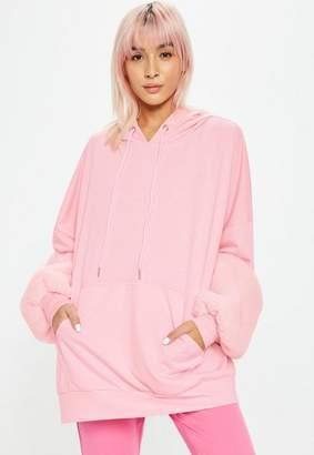 Missguided Pink Long Line Faux Fur Sleeve Hoodie