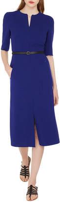 Akris Half-Sleeve Zip-Front Belted Midi Dress