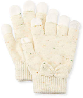 Neiman Marcus Speckled Knit Gloves w/Bow
