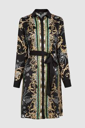 Next Womens Black Scarf Print Shirt Dress