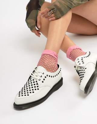 Dr. Martens Willis White Leather Studded Flat Shoes