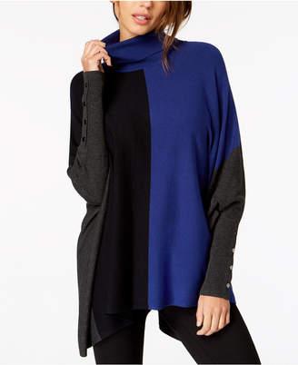 Alfani Turtleneck Colorblock Poncho Sweater