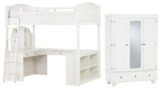 Chelsea Vanity Loft Bed + Armoire Set, Simply White, Full