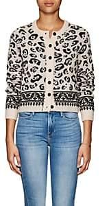 Altuzarra Women's Meknes Leopard-Pattern Wool-Blend Crop Cardigan - Fawn