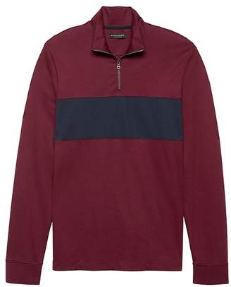 Banana Republic Luxury-Touch Half-Zip Chest-Stripe T-Shirt