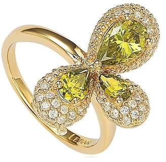 LeVian Suzy Jewelry Gold Plated Sterling Silver Triple Green Pear CZ Abstract Flower Ring