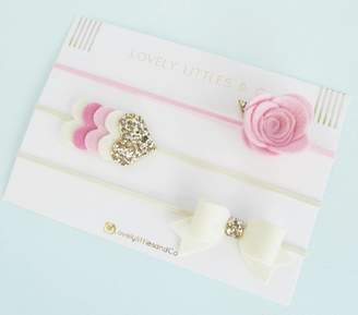 Lovely Littles and Co Rose Hair Bow Band Set