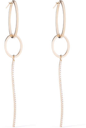 Paige Novick 18k Gold Hoop & Diamond Dangle Earrings