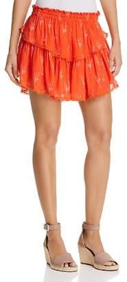 Karina Grimaldi Habi Tiered Printed Mini Skirt