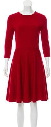 Christian Dior Long Sleeve Wool-Blend Dress
