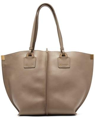 Chloé Vick Leather Tote - Womens - Grey