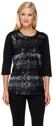 Factory Quacker Sequin and Lace 3/4 Sleeve Knit Top