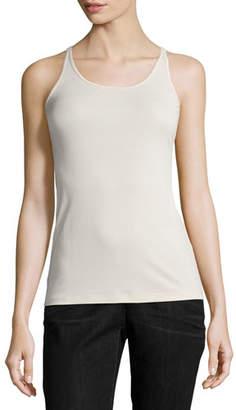 Eileen Fisher Stretch Silk Long Cami, Bone, Plus Size