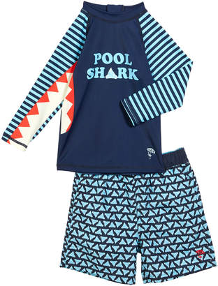 Trunks Shade Critters Pool Shark Rash Guard w\/ Printed Swim Size 6M-4