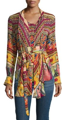 Etro Ribbon-Print Tie-Waist Blouse, Red $1,420 thestylecure.com