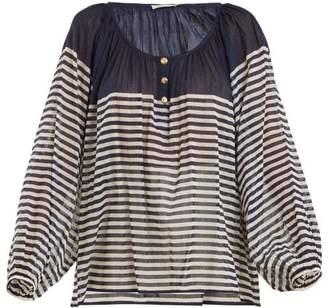 Mes Demoiselles Forward Striped Cotton Shirt - Womens - Navy Multi