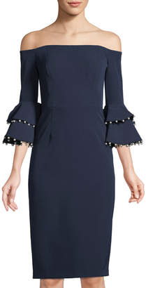 Maggy London Off-The-Shoulder Bell-Sleeve Dress
