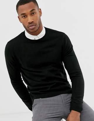 Asos Design DESIGN knitted crew neck sweater in black