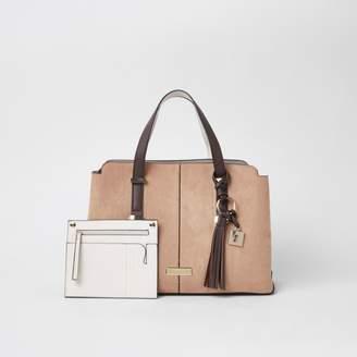 River Island Womens Beige triple compartment shopper bag