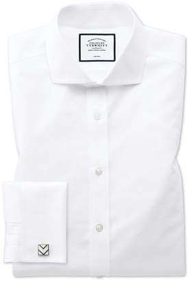 Charles Tyrwhitt Classic Fit White Non-Iron Poplin Spread Collar Cotton Dress Shirt French Cuff Size 15.5/32